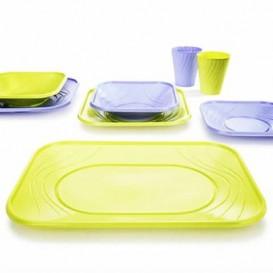 """Plato de Plastico PP """"X-Table"""" Cuadrado Violeta 180mm (8 Uds)"""