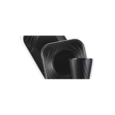 """Plato de Plastico PP """"X-Table"""" Cuadrado Negro 180mm (8 Uds)"""