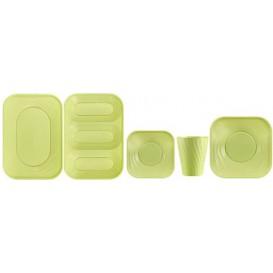 """Plato de Plastico PP """"X-Table"""" Cuadrado Lima 230mm (120 Uds)"""