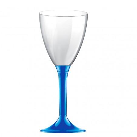 Copa de Plastico Vino con Pie Azul Mediterraneo 180ml (20 Uds)