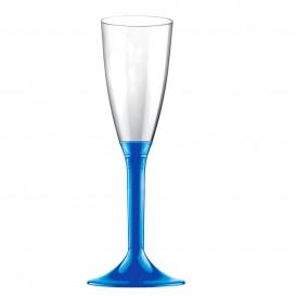 Copa de Plastico Cava con Pie Azul Mediterraneo 120ml (200 Uds)
