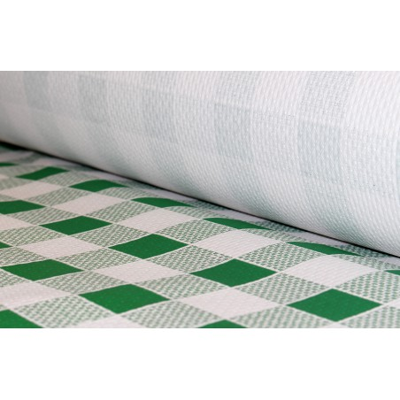 Mantel de Papel Rollo Cuadros Verdes 1x100m. 40g (6 Uds)
