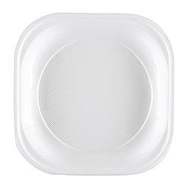 Plato de Plastico PS Cuadrado Rigido Blanco 200x200mm (50 Uds)
