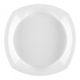 Plato de Plastico PS Cuadrado Blanco 230x230mm 1C (1000 Uds)