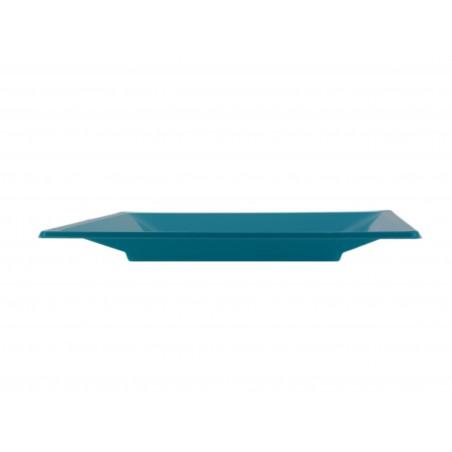Plato de Plastico Llano Cuadrado Turquesa 230mm (25 Uds)