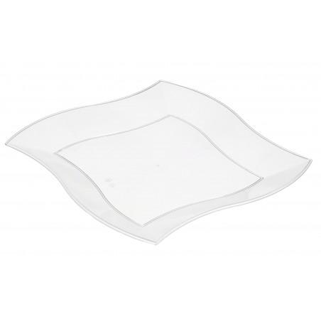 Plato de Plastico Llano Cuadrado Ondas Blanco 230 mm (25 Uds)