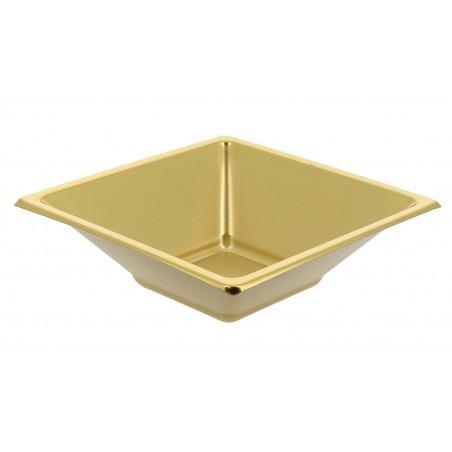 Bol de Plástico PS Cuadrado Oro 12x12cm (25 Uds)
