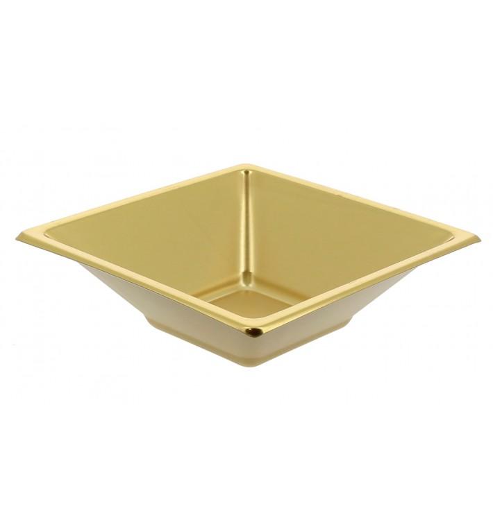 Bol de Plástico PS Cuadrado Oro 12x12cm (750 Uds)