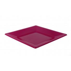 Plato de Plastico Llano Cuadrado Fucsia 230mm (25 Uds)