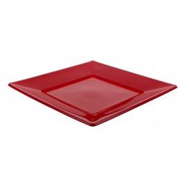 Plato de Plastico Llano Cuadrado Burdeos 230mm (5 Uds)