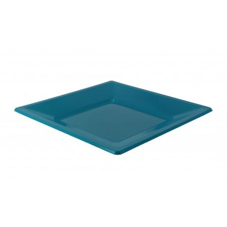 Plato de Plastico Llano Cuadrado Turquesa 230mm (180 Uds)
