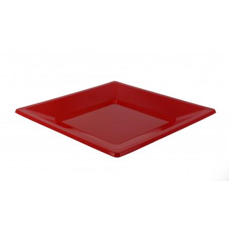 Plato de Plastico Llano Cuadrado Rojo 230mm (180 Uds)