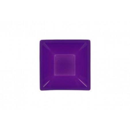 Bol de Plastico Cuadrado Lila 120x120x40mm (12 Uds)