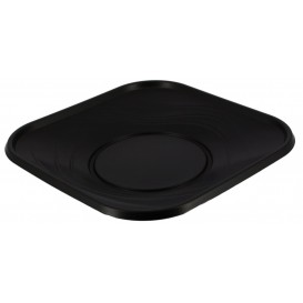 Plato de Plastico Cuadrado Negro PP 230mm (120 Uds)