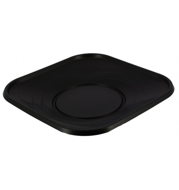 "Plato de Plastico PP ""X-Table"" Cuadrado Negro 230mm (120 Uds)"