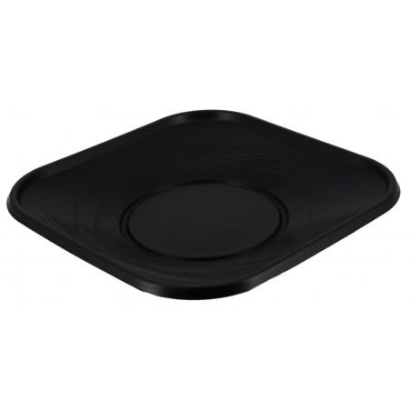 """Plato de Plastico PP """"X-Table"""" Cuadrado Negro 230mm (120 Uds)"""