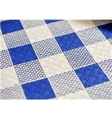 """Mantel de Papel Cortado 1x1m """"Cuadros Azules"""" 37g (400 Uds)"""