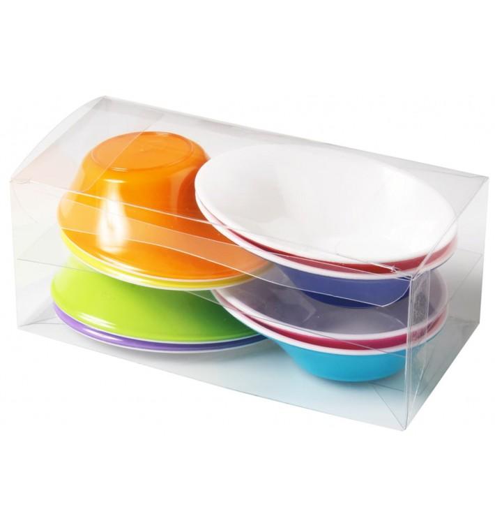 """Bol de Plástico """"Sodo"""" Blanco y Multicolor 50 ml (160 Uds)"""