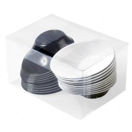 """Bol de Plástico """"Sodo"""" Blanco y Negro 50 ml (20 Unidades)"""