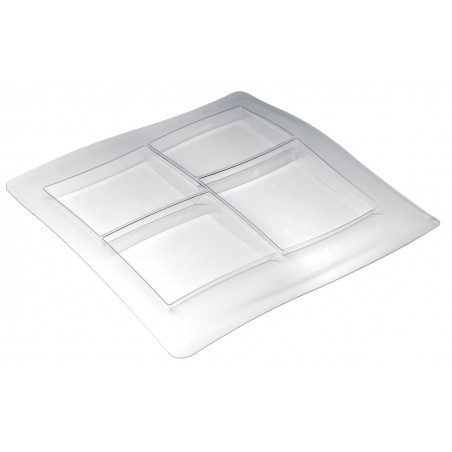 Bandeja Reutilizable PS FoodPoker 4C 36x36cm (12 Uds)