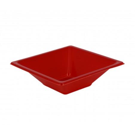 Bol de Plastico Cuadrado Rojo 120x120x40mm (12 Uds)