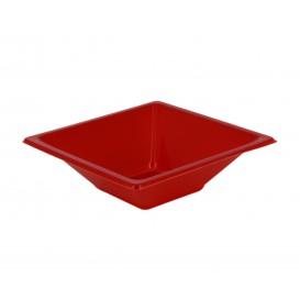 Bol de Plastico Cuadrado Rojo 120x120x40mm (25 Uds)