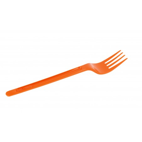 Tenedor de Plastico PS Naranja 175mm (20 Uds)