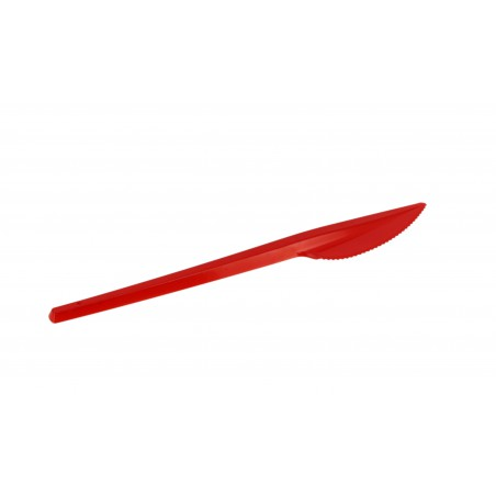 Cuchillo de Plastico PS Rojo 165mm (20 Uds)