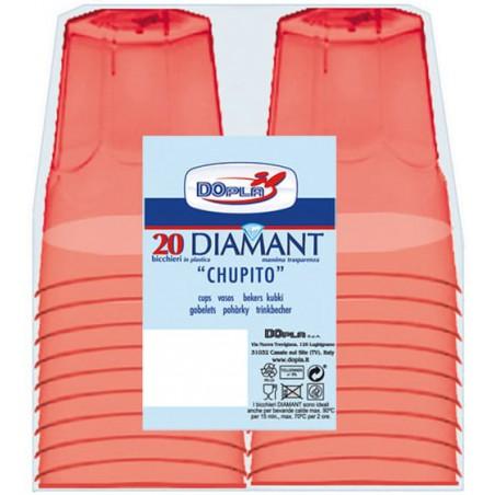 """Vaso Plastico Chupito """"Diamant"""" PS Cristal Rojo 50ml (20 Uds)"""