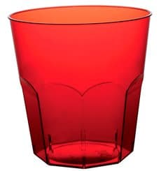 Vaso Plastico Rojo Transp. PS Ø73mm 220ml (1000 Uds)