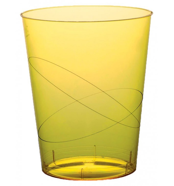 Vaso de Plastico Moon Amarillo Transp. PS 350ml (20 Uds)