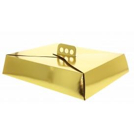 Caja Carton Oro Tarta Cuadrada 23,5x30x8 cm (50 Uds)