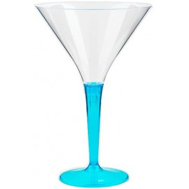 Copa de Plastico Cocktail Pie Turquesa 100 ml (48 Uds)