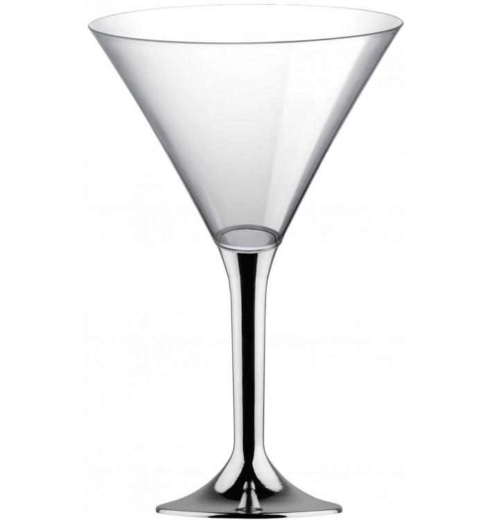 Copa de Plastico Cocktail con Pie Plata Cromado 185ml (200 Uds)