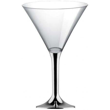 Copa Plastico Cocktail Pie Plata Cromado 185ml 2P (200 Uds)