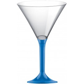 Copa de Plastico Cocktail con Pie Azul Transp. 185ml (200 Uds)