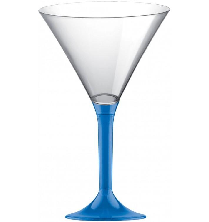Copa de Plastico Cocktail con Pie Azul Transp. 185ml (200 Uds)
