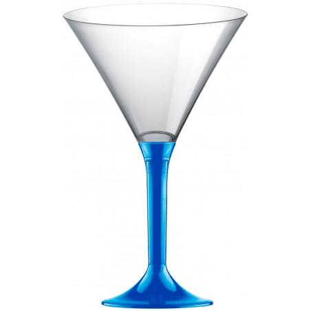 Copa de Plastico Cocktail con Pie Azul Mediterraneo 185ml (20 Uds)