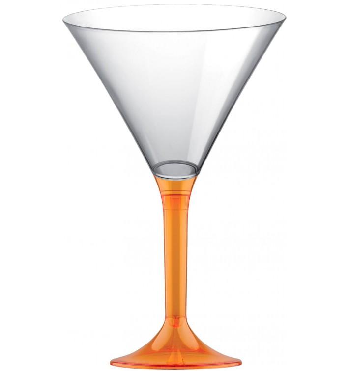 Copa de Plastico Cocktail con Pie Naranja Transp. 185ml (20 Uds)