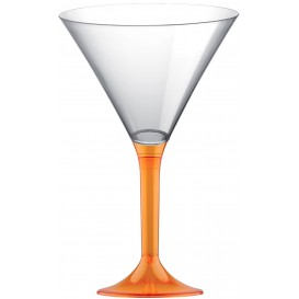 Copa de Plastico Cocktail con Pie Naranja Transp. 185ml (200 Uds)