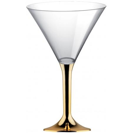 Copa Plastico Cocktail Pie Oro Cromado 185ml 2P (20 Uds)
