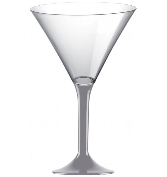 Copa de Plastico Cocktail con Pie Gris 185ml (20 Uds)