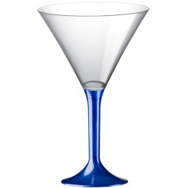 Copa de Plastico Cocktail con Pie Azul Perlado 185ml (20 Uds)