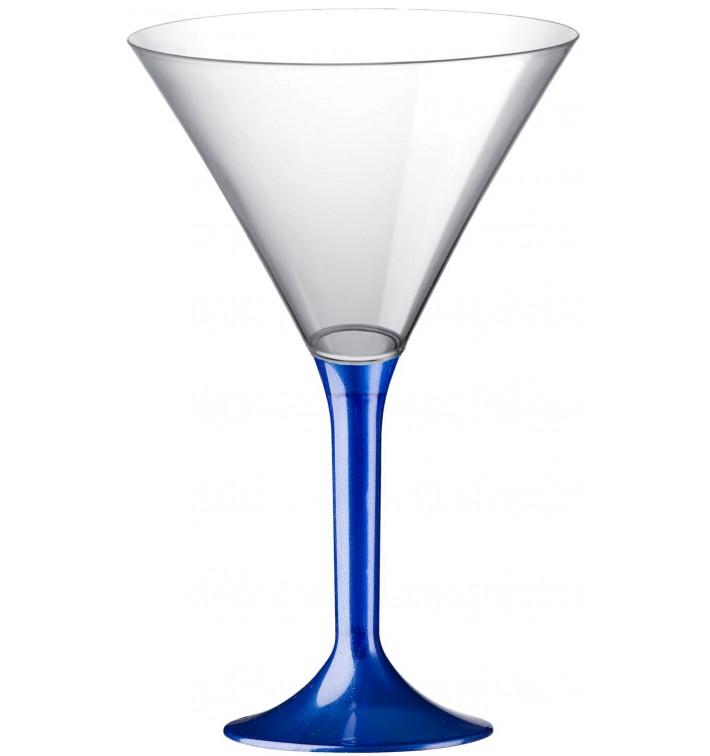 Copa de Plastico Cocktail con Pie Azul Perlado 185ml (20 Uds)