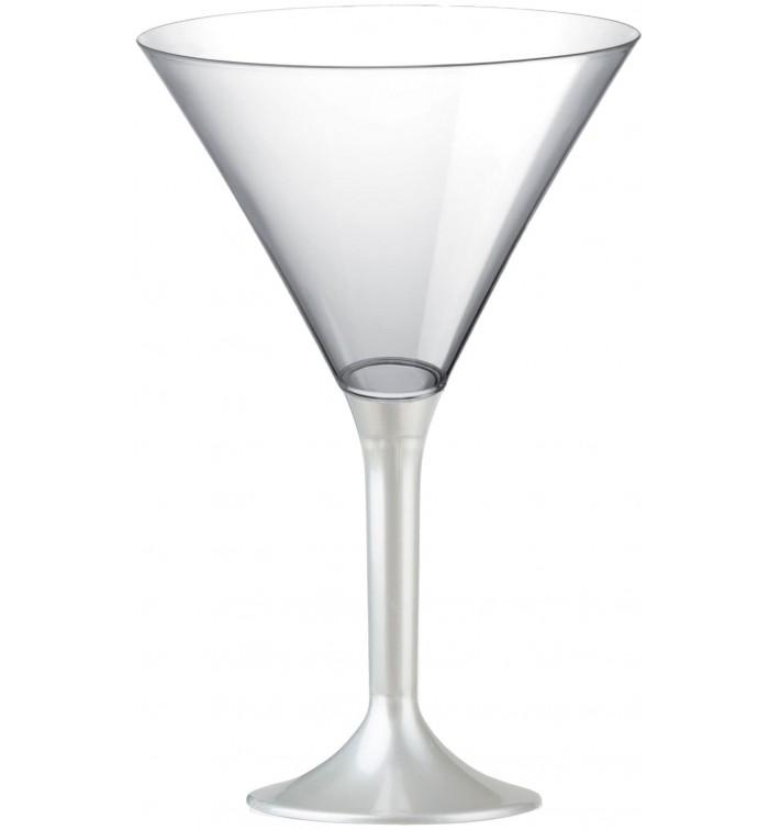 Copa de Plastico Cocktail con Pie Blanco Perlado 185ml (20 Uds)