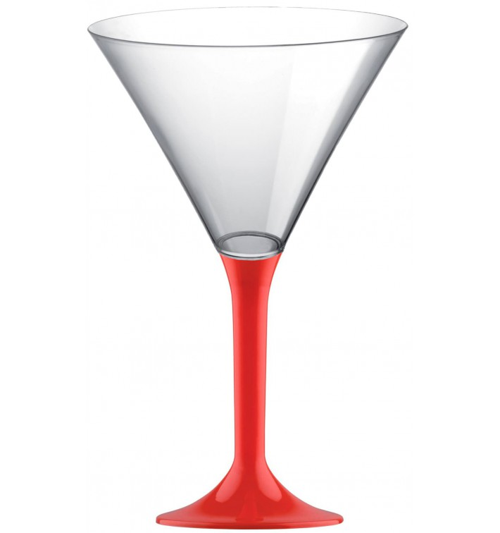 Copa de Plastico Cocktail con Pie Rojo 185ml (200 Uds)