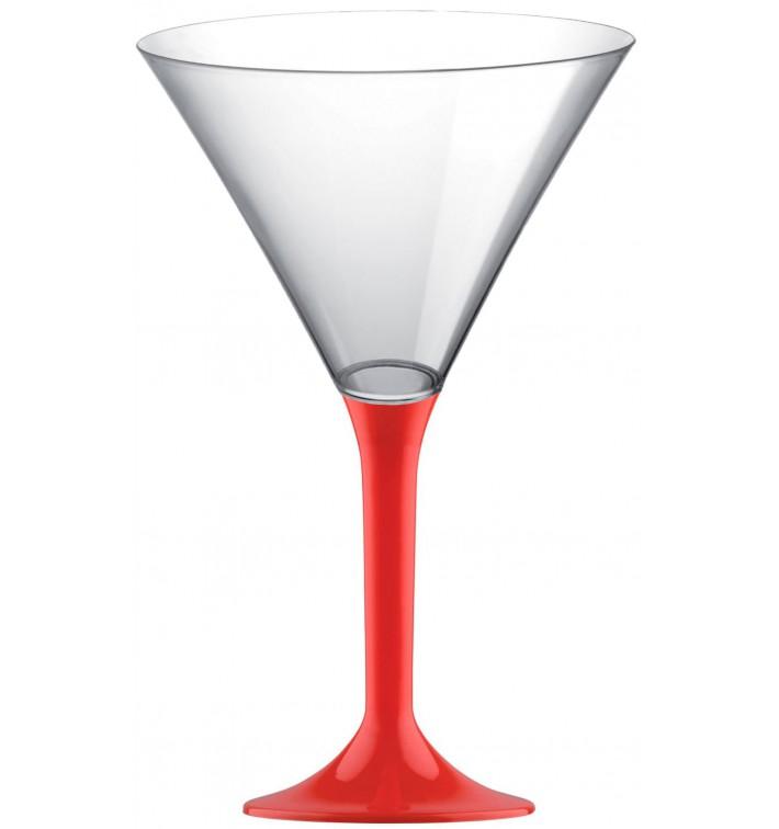 Copa de Plastico Cocktail con Pie Rojo 185ml (20 Uds)