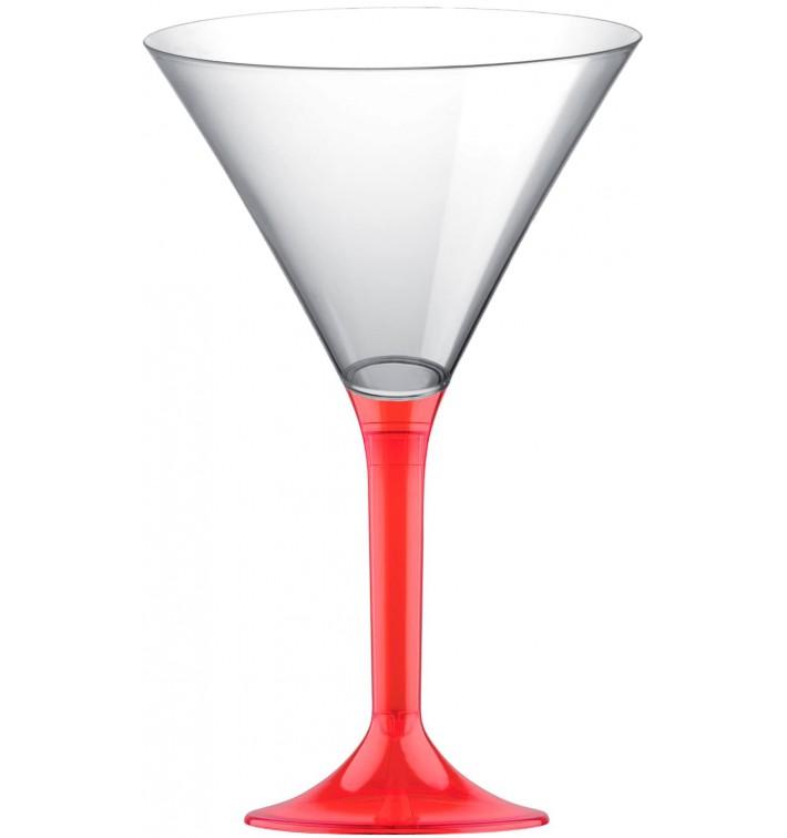 Copa de Plastico Cocktail con Pie Rojo Transp. 185ml (200 Uds)