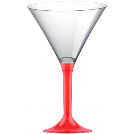 Copa Plastico Cocktail Pie Rojo Transp. 185ml 2P (20 Uds)