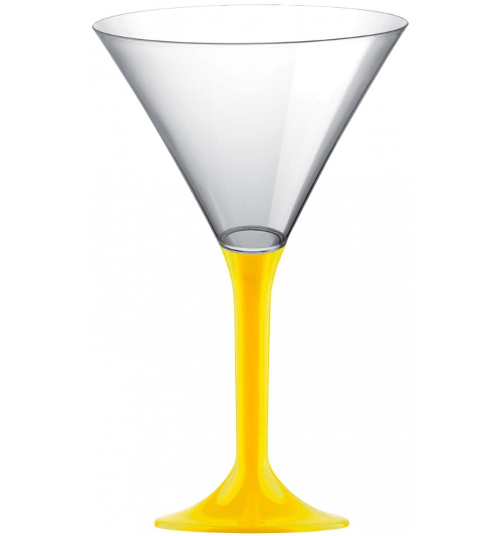 Copa de Plastico Cocktail con Pie Amarillo 185ml (20 Uds)